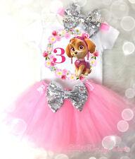 b42771f861934 Dog Puppy Pink Paw Skye Silve Tutu Shirt Headband 3rd Third Birthday Girl  Outfit