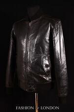 Men's AIRBORNE Black Napp Lambskin Classic Bomber Real Aviator Leather Jacket