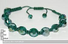 Bracelet STYLE SHAMBALLA Cristal VERT Irisé  Boule DISCO & macramé NEUF