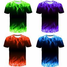 Mens Summer T-Shirt 3D Fire Flame Graphic Full Print Short Sleeve Tee Top S-6XL