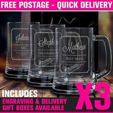 3 x Engraved 500ml Beer Mug Gift Boxed Wedding Glass Personalised Groomsman Gift