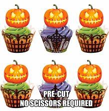 Precortada Brillante Calabazas Toppers Comestibles Cupcake Decoración