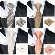 Mens Premium 100% Silk Wedding Tie Pocket Square Cufflink Gold Cream Ivory Sets