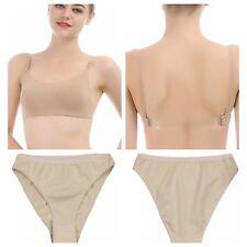 Nude Dance Underwear.Backless Bra Flesh/Clear Straps.Skin Colour Pants Knickers.