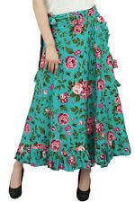 Phagun Floral Printed Women's Wrap Self Belt Cotton Ruffled  Magic Skirt