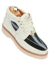 Los Altos Cream Black Authentic Stingray Ostrich Fashion Sneaker Men Casual Shoe