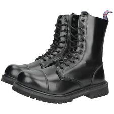 Mil-Tec - Invader 10-hole Boots Black Steel Toe Cap Leather Shoes Black