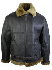 Para Hombre Marrón Original Raf Piel de oveja de Vuelo Piloto chaqueta Café Clásico Ginger