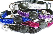 Cat Collar Glitter Velvet Breakaway Buckle Loud Bell Kitten 5 Colours Freepost