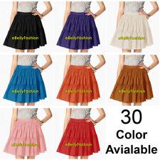 Women Girl Cotton Short MiniDress Tiered Skirt Pleated Retro Elastic Ruffle Club