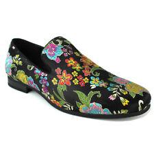 2b6bc904f5b Mens Slip On Black Multi Color Floral Print Design Dress Shoes Loafer  AZARMAN