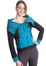 blau-schwarze Boho chaqueta sudadera con cuello cisne