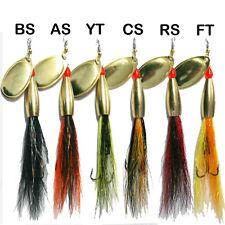 Bullet Head Bucktail Flying C's Spinner, Lure, Brass 12g &16g 6 Salmon Patterns.