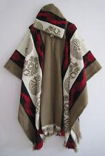 Llama Man Cape Poncho with Hood Beige Woman Wool Coat Jacket Handmade in Ecuador