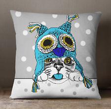 S4Sassy Aqua Blue Decorative Cushion Cover Dog Print Square Pillow Case Throw