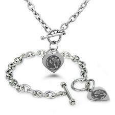 Stainless Steel Yin Yang Taijitu Symbols Heart Charm Bracelet Necklace Set