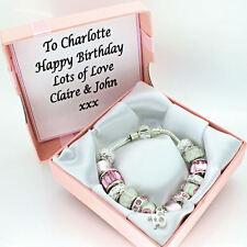 Para Mujer Pulsera Joyería Rosa Personalizado Caja 18th 21st 40th Cumpleaños Regalos