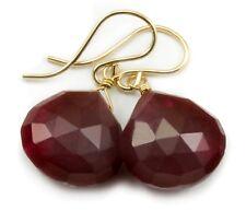 14k Gold Ruby Red Agate Earrings Faceted Teardrop Simple Dangle Drops Sterling