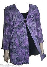 Plus Size Top Evening Asymmetrical Black Purple 3/4 Sleeves 18 20 NWT Dressy
