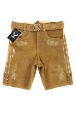Trachten Leder Hose kurz mit Gürtel u. Reißverschluß Neu Echt Leder camel 42-56