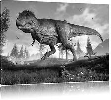 T-Rex Dinosaurier in der Natur Kunst B&W Leinwandbild Wanddeko Kunstdruck