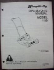SIMPLICITY OPERATOR'S MANUAL MODEL,1119 PUSH MOWER