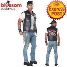 CK1581 Boys Child Biker Costume Vest Rocker 80s Rider Anarchy Gangster Badass