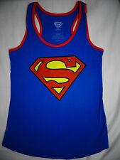 Superman Shield Dc Comics Womens Junior Blue Racer Tank Top Shirt L XL
