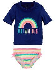"New Carter's Girl ""Dream Big"" Rainbow Rashguard & Bottoms Swim Set 3T 4T"