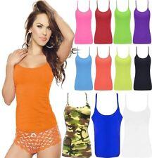 fceb2dbe0241d Femme Microfibre Fluo Couleur TOP filles sans manches à bretelles Casual  Wear Lycra Gilet
