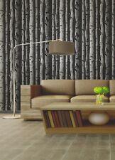 Brewster Distinctive Black Birch Tree Metallic Silver Contemporary Wallpaper Diy