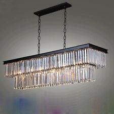 Creative personality Restaurant Continental Iron rectangular crystal chandelier