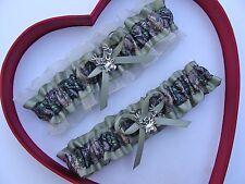 NEW Gorgeous Sage Green Mossy Oak Ivory Wedding Garter Prom Camo  Camouflage
