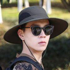 Unisex Men Summer Fishing Cap Hiking Hat Wide Brim Sun Protect Outdoor Khaki Hot