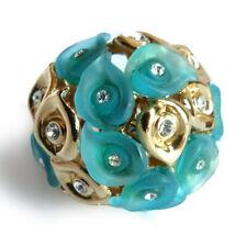 bague plaqué or jaune cristal swarovski éléments Fleur arum résine bleu canard