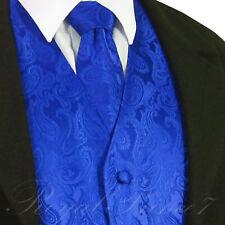 ROYAL BLUE XS - 6XL Paisley Tuxedo Suit Dress Vest Waistcoat & Neck tie wedding