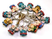 50-100pcs Hand Carved Wooden Ganesha Key Ring, Keychain, Key Holder Keychain