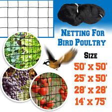 Anti Bird Net Netting for Bird Poultry Aviary Game Pens 50/25x50', 28x28',14x74'