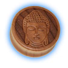 1 Wooden Buddha Ear Plug Carved Lotus Wood Flesh Plug unusual 12mm - 28mm