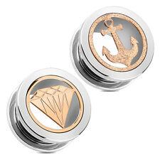 Tunnel Plug Piercing 316L Edelstahl Diamant Diamond Anker silber rose gold