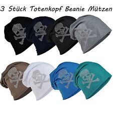 3 Stück Totenkopf Set Long Beanie Mütze XXL mit Strass Skull Unisex Black Trend