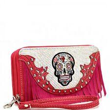Sugar Skull Wristlet Wallet Pink Fringe Double Zipper & Wrist Strap New