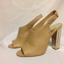 Coach Lillie Tonal Wash Leather Slingback Platform Heel 9.5 M Lt Camel New w/Box