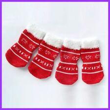4 Red Winter Christmas Socks Puppy Dog Indoor Soft Warm Cotton Anti-slip Booties