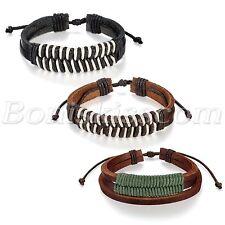 Fashion Retro Tribal Cotton Multilayer Twisted Leather Adjustable Bracelet Cuff
