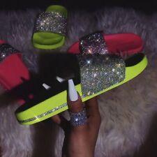 New Rhinestone Crystal Wide Band Open Toe Platform Slides Sandal Shoe Flip Flops
