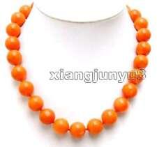 SALE Big 15-16mm highquality round Orange nature Coral Necklace 17'' -nec5214
