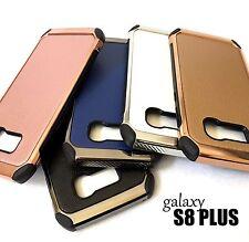 For Samsung Galaxy S8+ PLUS - Leather Chrome Hybrid Armor Impact Phone Skin Case