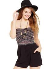 Jessica Simpson Caitlin Black Strapless Embroidered-Bodice Romper  w/Pockets