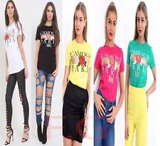 Womens Paris L'amour Lurex Glitter Slogan Print Short Sleeve Top Ladies T-Shirt
